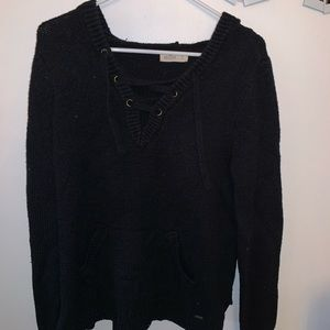 black hooded sweater with lace up front
